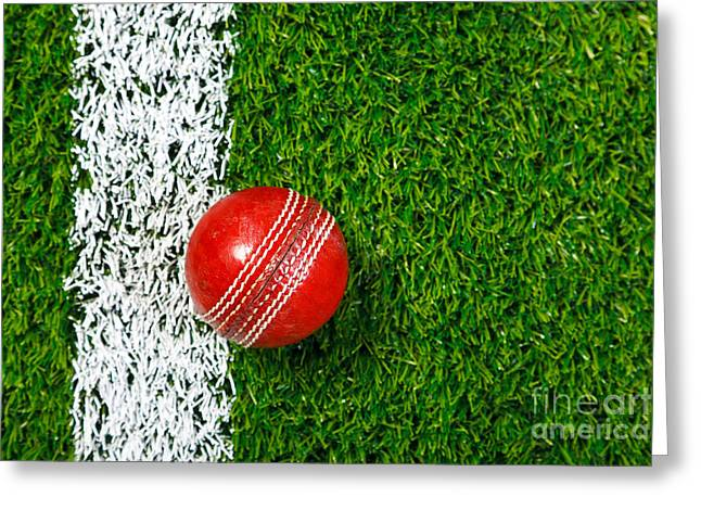 Cricket Ball On Grass From Above. Greeting Card