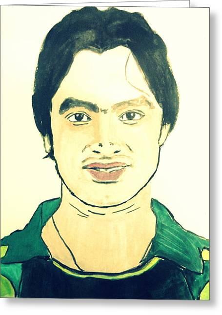 Cricket Player-imran Nazir Greeting Card by Poornima M