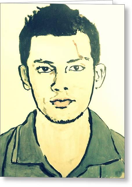 Cricket Player-raza Hasan Greeting Card by Poornima M