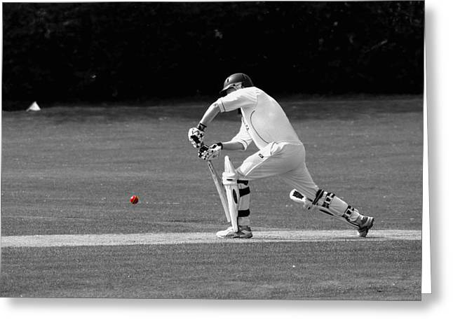 Cricketer In Black And White With Red Ball Greeting Card