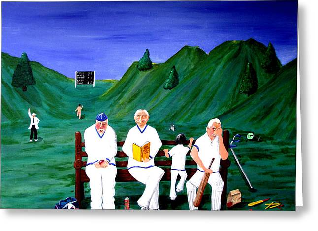 Cricketers Greeting Card by Sandy Wager