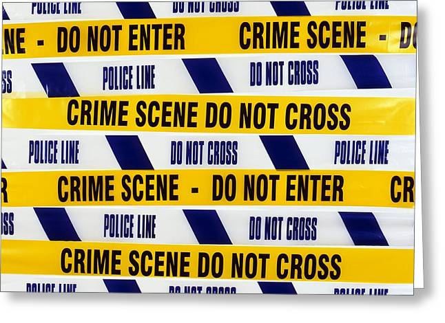 Crime Scene Tape Greeting Card by Kevin Curtis