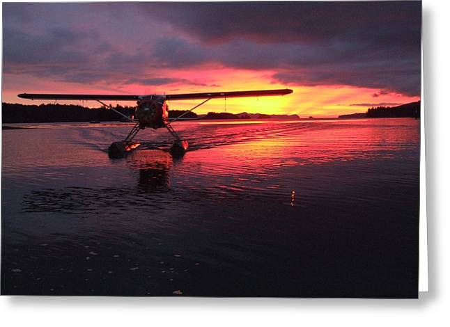Crimson Skies Greeting Card by Mark Alan Perry