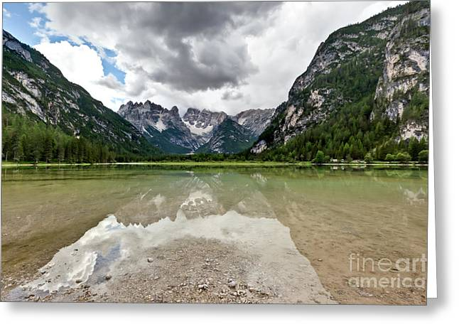 Greeting Card featuring the photograph Cristallo Mountains Reflection Dolomites Northern Italy by Charles Lupica