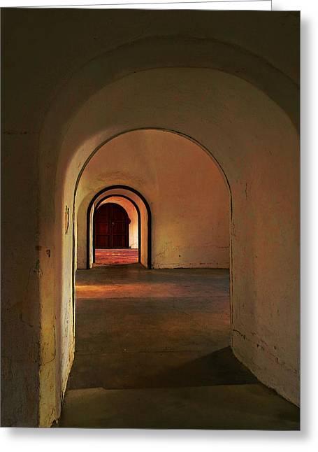 Greeting Card featuring the photograph Cristobal Corridor by Deborah Smith
