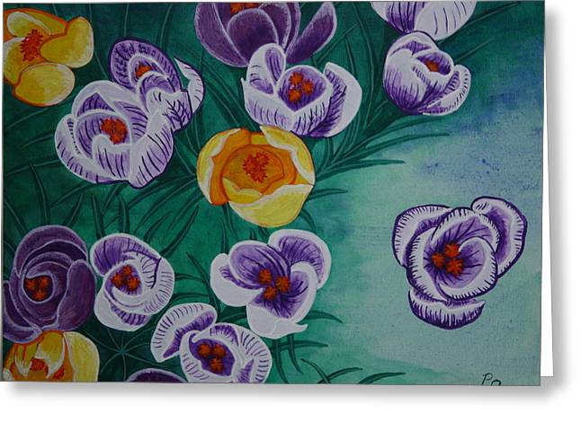 Greeting Card featuring the painting Crocus by Paul Amaranto