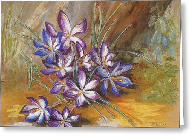 Spring Pastels Greeting Cards - Crocuses Under My Old Apple Tree Greeting Card by Barbara Pommerenke