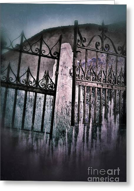 Crooked Cemetery Gates Greeting Card