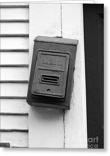 Crooked Old Fashioned Metal Green Mailbox French Quarter New Orleans Black And White Greeting Card by Shawn O'Brien