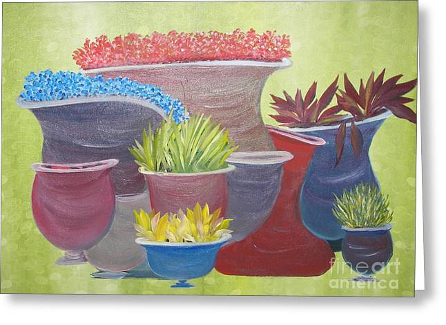 Crooked Pots Greeting Card by Rachel Carmichael