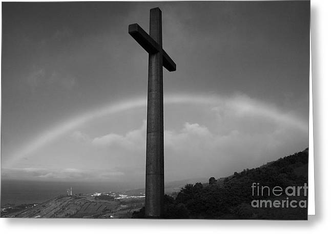 Cross And Rainbow Greeting Card by Gaspar Avila