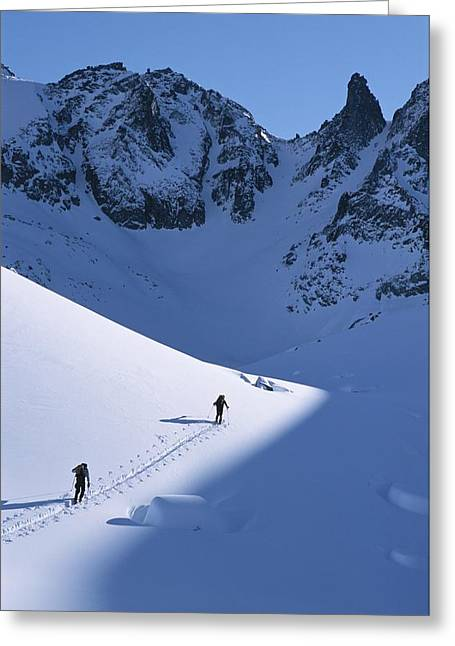 Cross Country Skiers In The Selkirk Greeting Card by Jimmy Chin