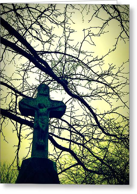 Cross In The Trees Greeting Card