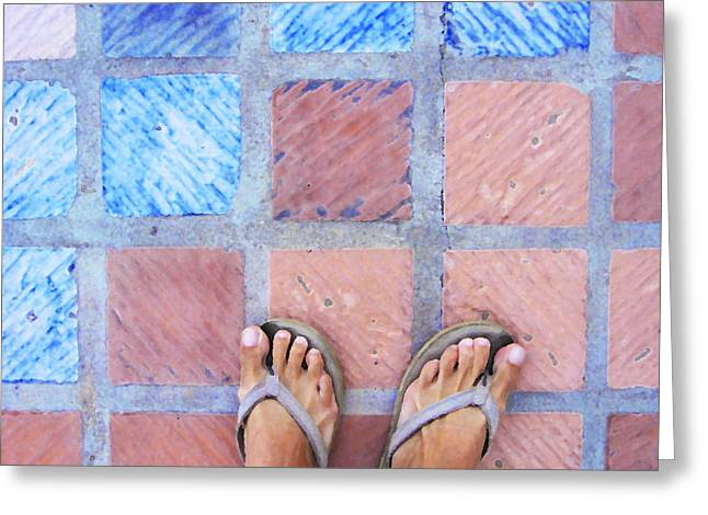 Greeting Card featuring the photograph Cross-legged On A Colorful Sidewalk by Anne Mott