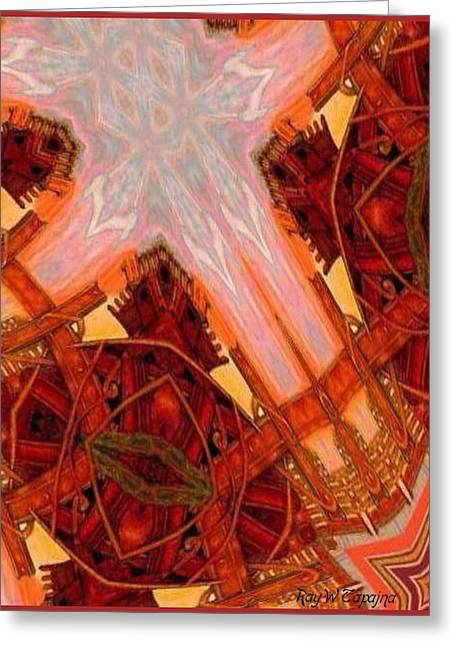 Greeting Card featuring the mixed media Cross Nine Eleven Aftershock  by Ray Tapajna
