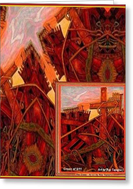 Greeting Card featuring the mixed media Cross Nine Eleven Tangle Of Terror by Ray Tapajna