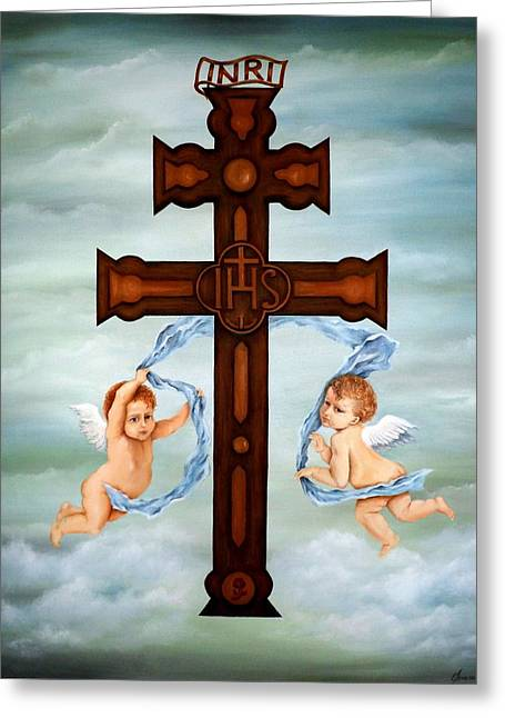 Cross Of Caravaca Greeting Card by Lena Day