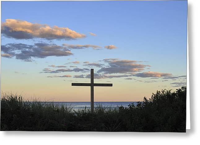 Ocean Grove Nj Cross On Beach Greeting Card by Terry DeLuco