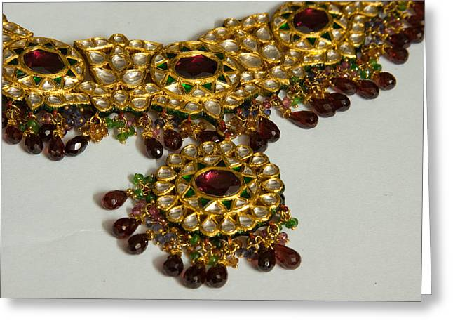 Cross Section Of A Purple And Yellow Gold Beautiful Necklace Greeting Card by Ashish Agarwal