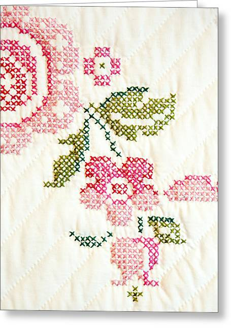 Cross Stitch Flower 1 Greeting Card by Marilyn Hunt