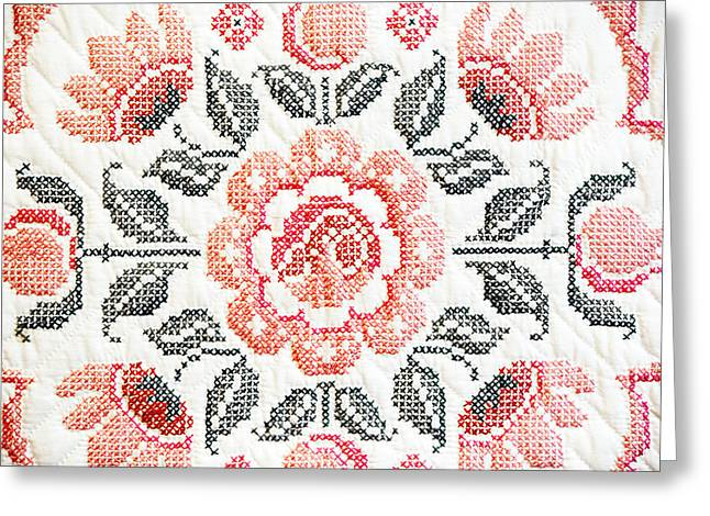 Cross Stitch Roses Greeting Card by Marilyn Hunt