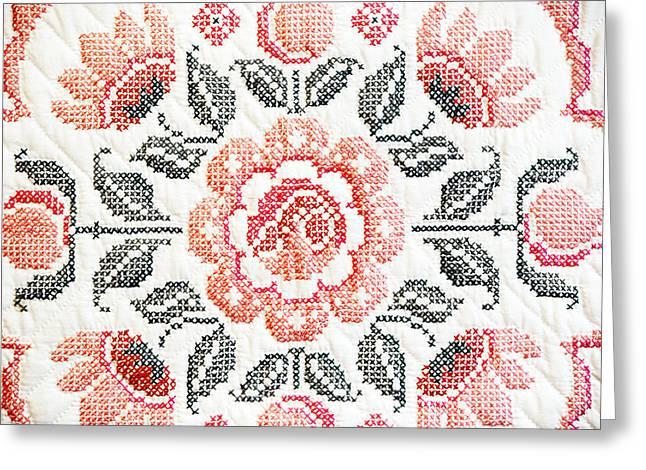 Cross Stitch Roses Greeting Card