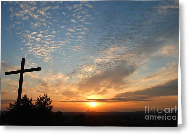 Cross Sunset Greeting Card