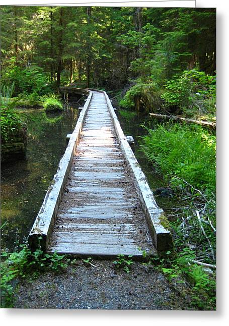 Crossing Over Greeting Card by Kathy Bassett