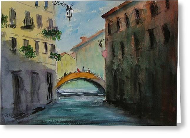 Crossing The Canal Greeting Card by Heidi Patricio-Nadon