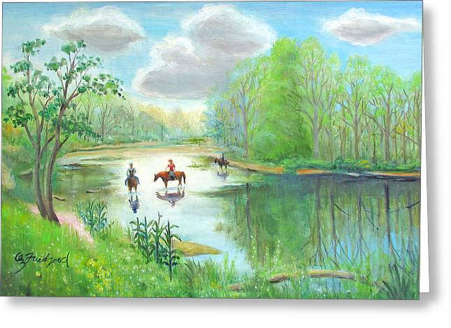 Greeting Card featuring the painting Crossing The Neshaminy by Oz Freedgood