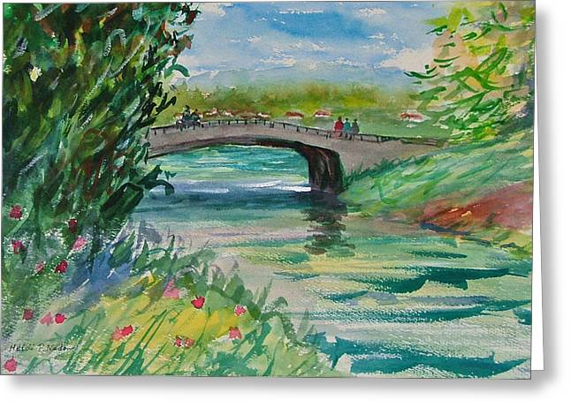 Crossing The River Greeting Card by Heidi Patricio-Nadon