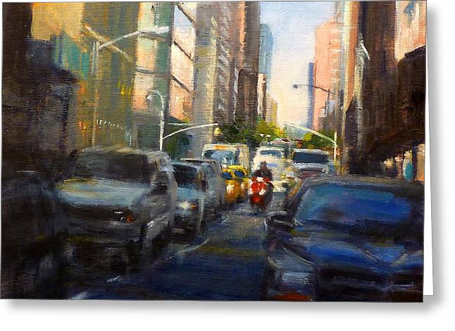 Crosstown On West 58th Greeting Card by Peter Salwen
