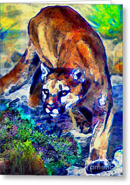 Greeting Card featuring the painting Crouching Cougar by Elinor Mavor