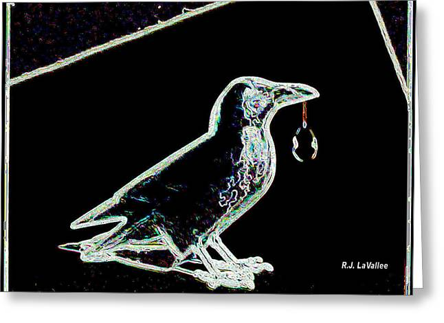 Crow With Crystal 3 Greeting Card