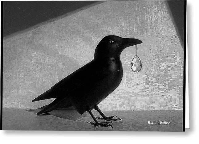 Crow With Crystal 7 Greeting Card