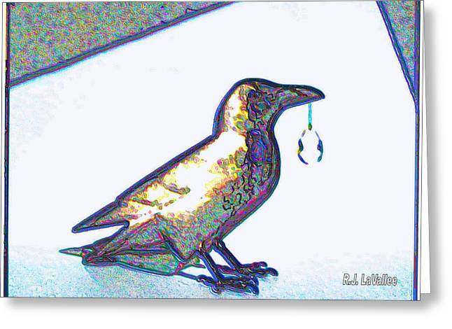 Crow With Crystal1 Greeting Card