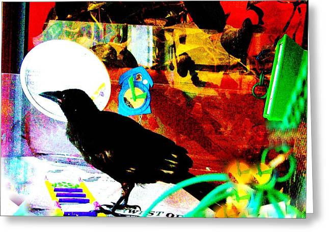 Greeting Card featuring the mixed media Crow's Piano by YoMamaBird Rhonda