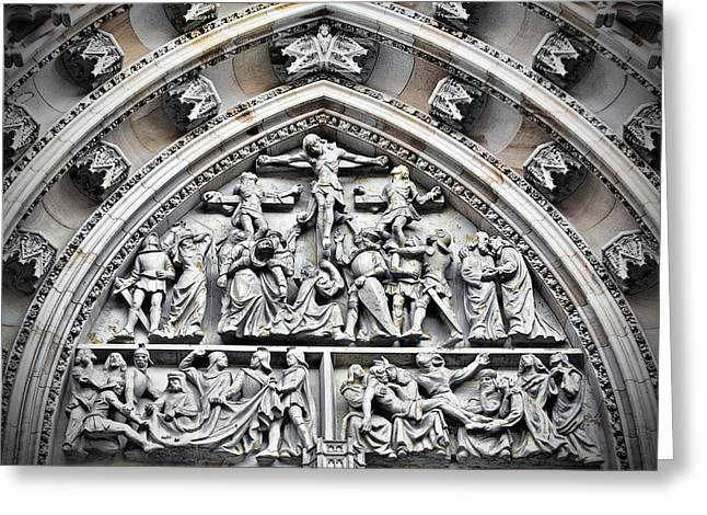 Crucified Christ - Saint Vitus Cathedral Prague Castle Greeting Card by Christine Till