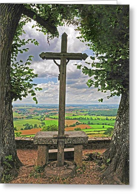 Greeting Card featuring the photograph Crucifix Overlooking The French Countryside by Dave Mills