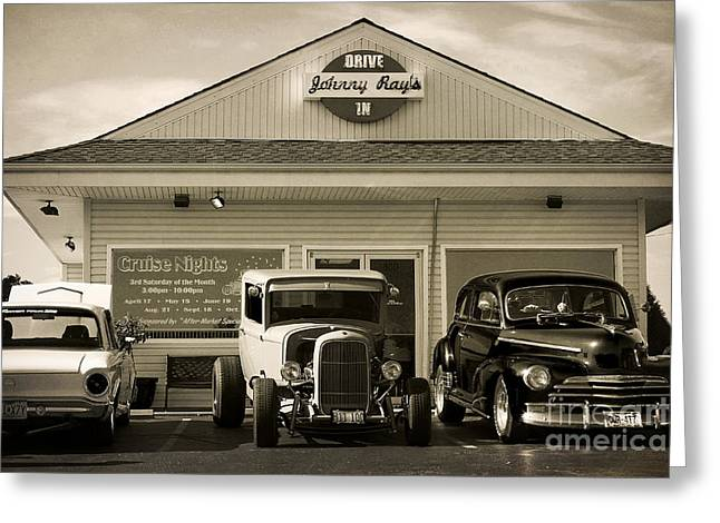 Cruise Night At Johnny Ray's Greeting Card by Dennis Hedberg