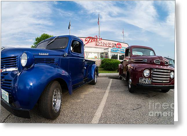 Cruise Night At The Diner Greeting Card by Edward Fielding