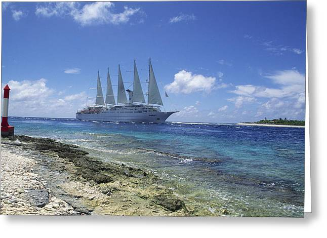 Cruise Ship Greeting Card by Alexis Rosenfeld