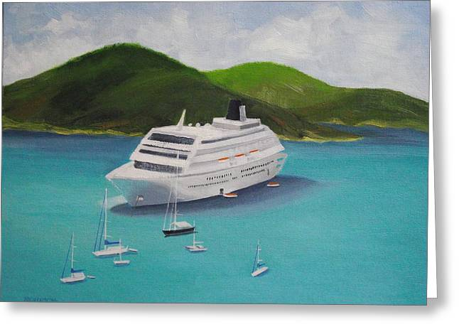 Cruise Ship Off Charlotte Amalie Greeting Card by Robert Rohrich
