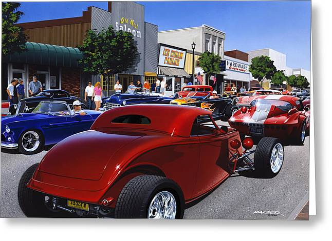 Road Travel Greeting Cards - Cruising Main Street Greeting Card by Bruce Kaiser