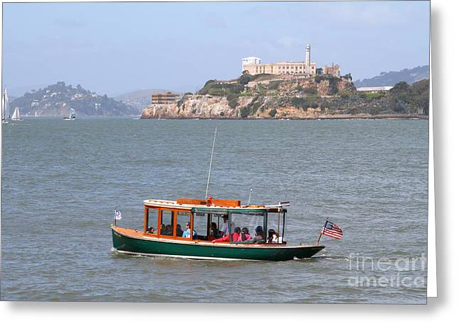 Cruizing The San Francisco Bay On The Pier 39 Boat Taxi With Alcatraz Island In The Distance.7d14322 Greeting Card by Wingsdomain Art and Photography