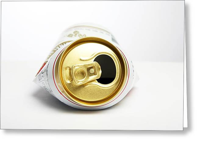 Crushed Beer Can Greeting Card by Victor De Schwanberg