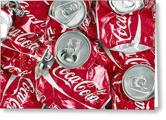 Crushed Coca Cola Can Greeting Card by Mark Sykes