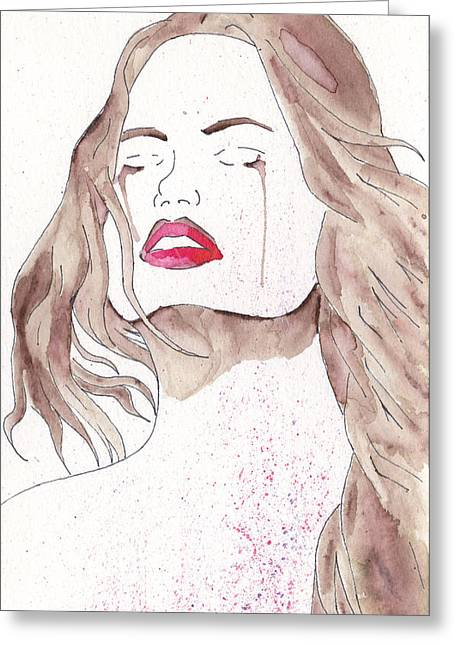 Crying Girl Greeting Card by Jona Henshall