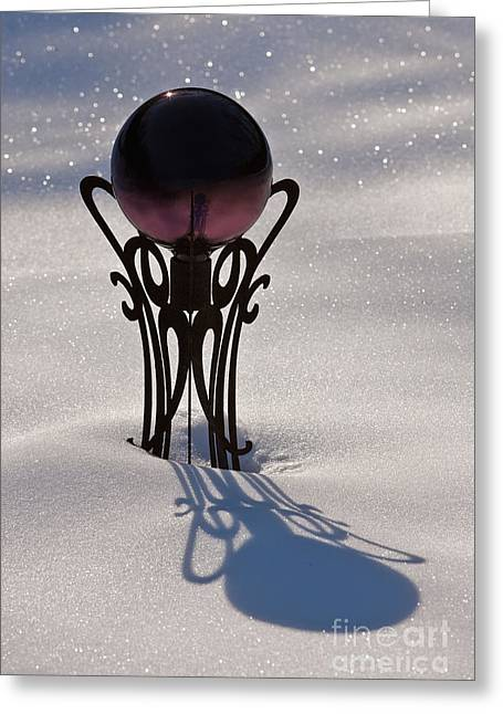 Crystal Ball In Snow Greeting Card by Will & Deni McIntyre