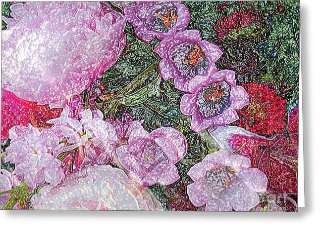 Crystallized Flowers - Digital Abstract Art Greeting Card